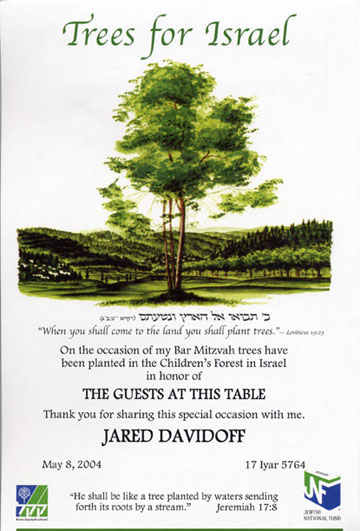 Jewish National Fund Invitations And Certificates
